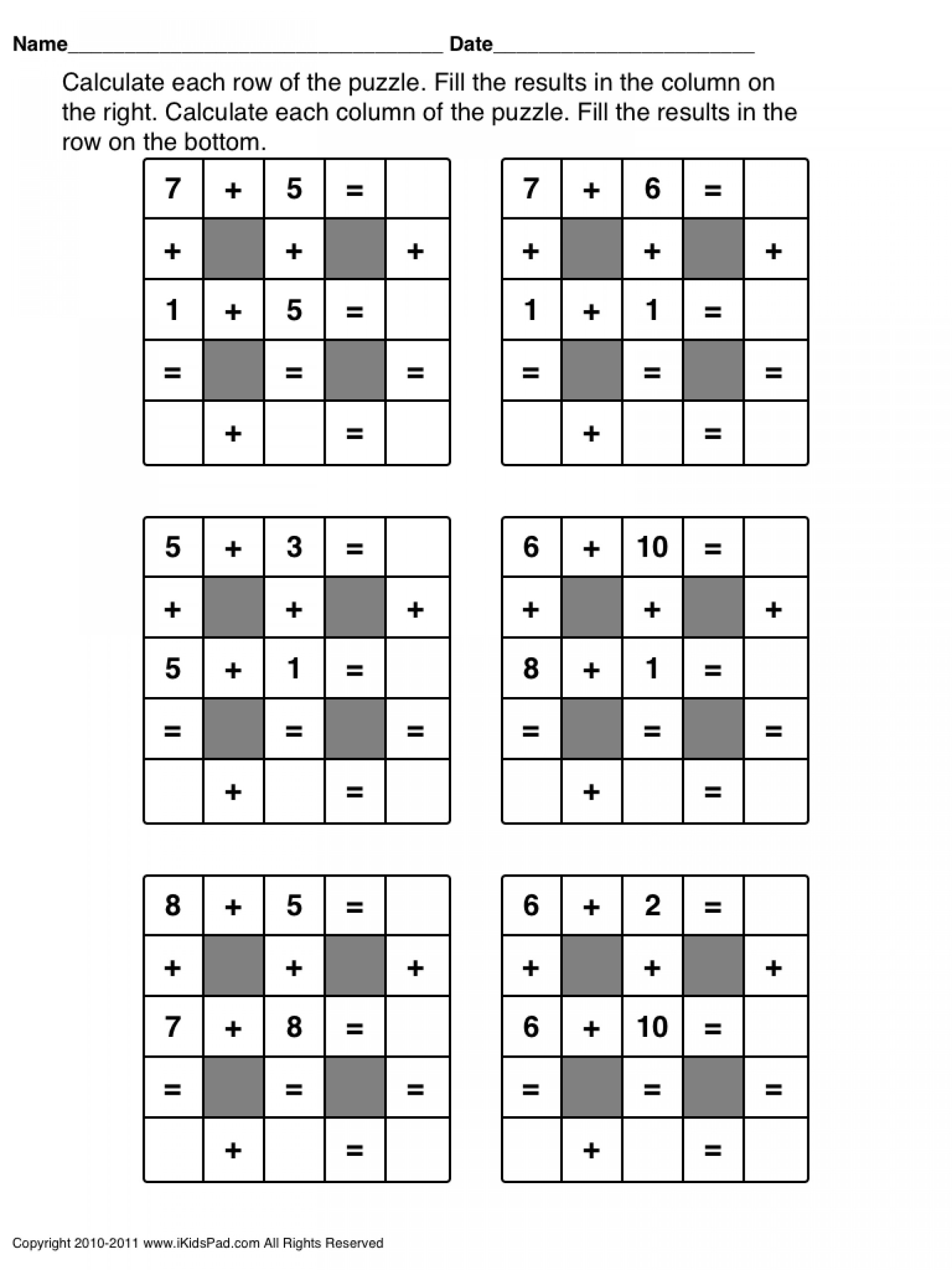 Crosswords Fun Maths For 2Nd And 3Rd Graders Free Printable Second - Free Printable Thanksgiving Math Worksheets For 3Rd Grade