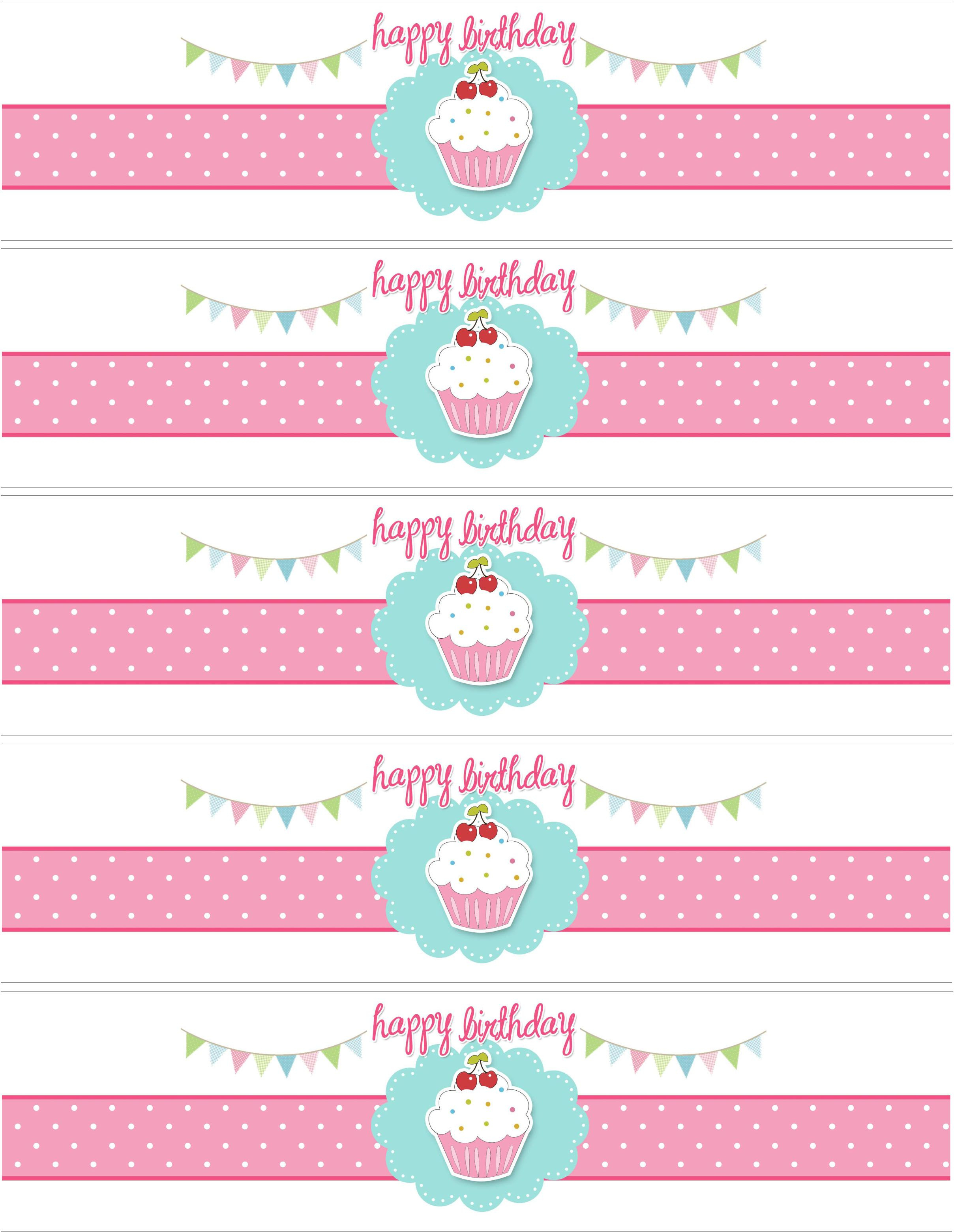 Cupcake Birthday Party With Free Printables | Diy Birthday Party - Free Printable Water Bottle Label Template