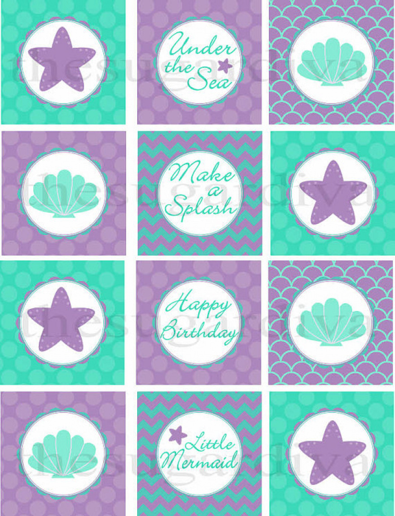 Cupcake Toppers, Under The Sea Cupcake Topper, Mermaid Cupcake With - Free Printable Mermaid Cupcake Toppers