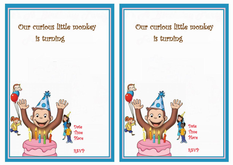 Curious George Birthday Invitations   Birthday Printable - Free Printable Curious George Invitations