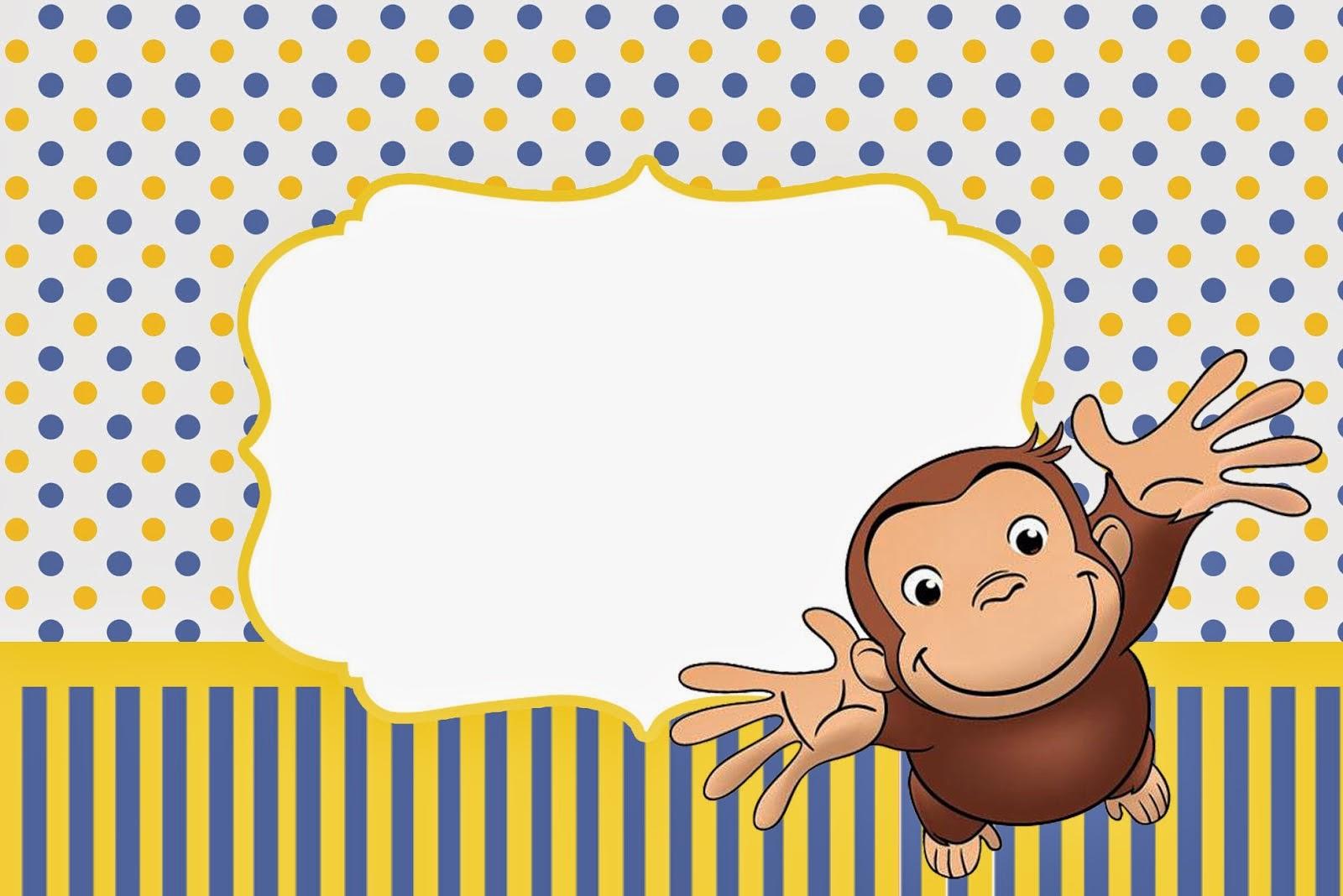 Curious George Free Printable Invitations.   Oh My Fiesta! In English - Free Printable Curious George Invitations