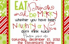 Custom Designed Christmas Party Invitations Eat Drink And Be Merry - Free Printable Personalized Christmas Invitations