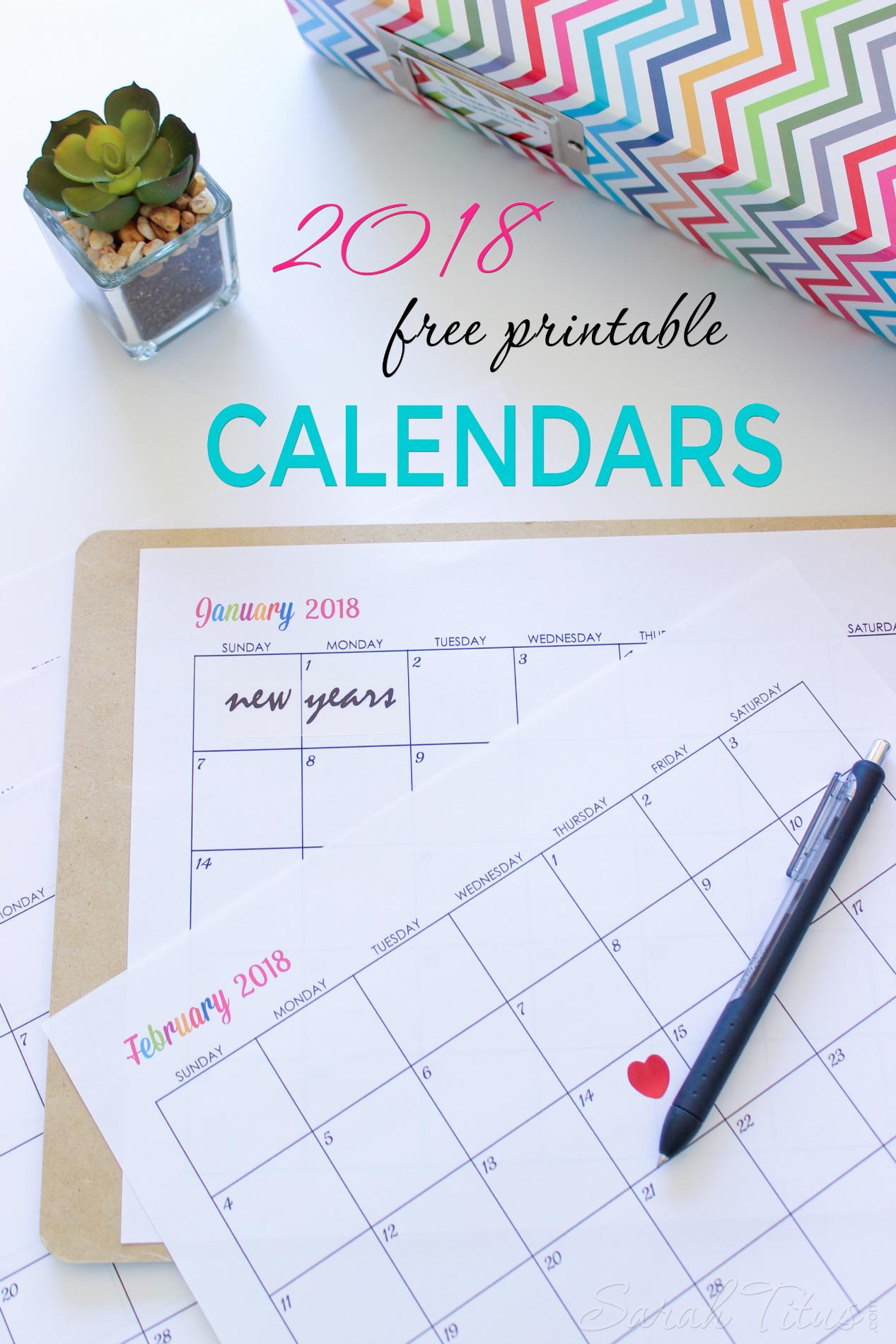 Custom Editable Free Printable 2018 Calendars - Sarah Titus - Planner 2018 Printable Free
