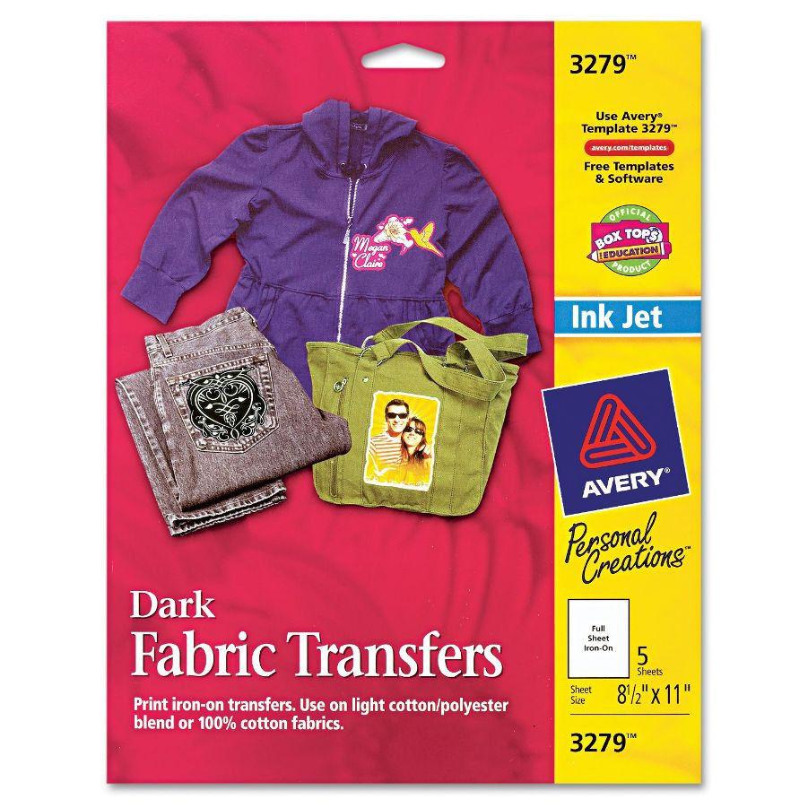 Custom Transfers Dark T-Shirts Inkjet Printable Iron-On Avery 3279 - Free Printable Iron On Transfers For T Shirts