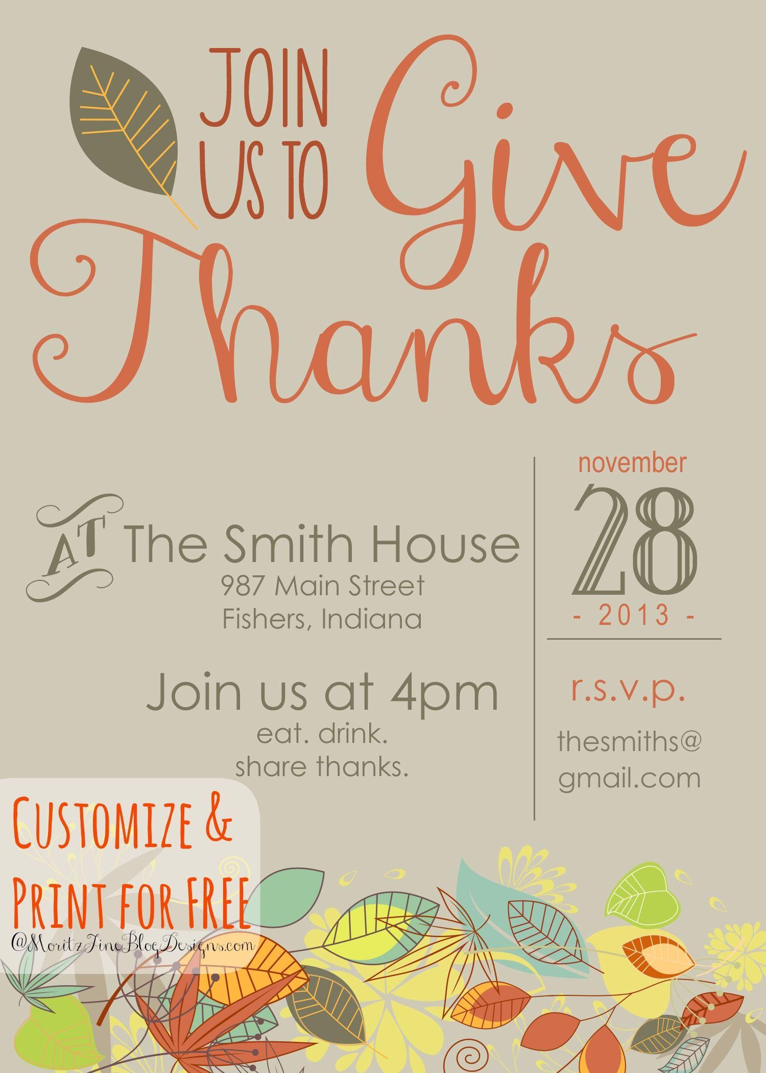 Customizable Thanksgiving Invitation   Recipe & Holiday Favorites - Free Printable Thanksgiving Invitations