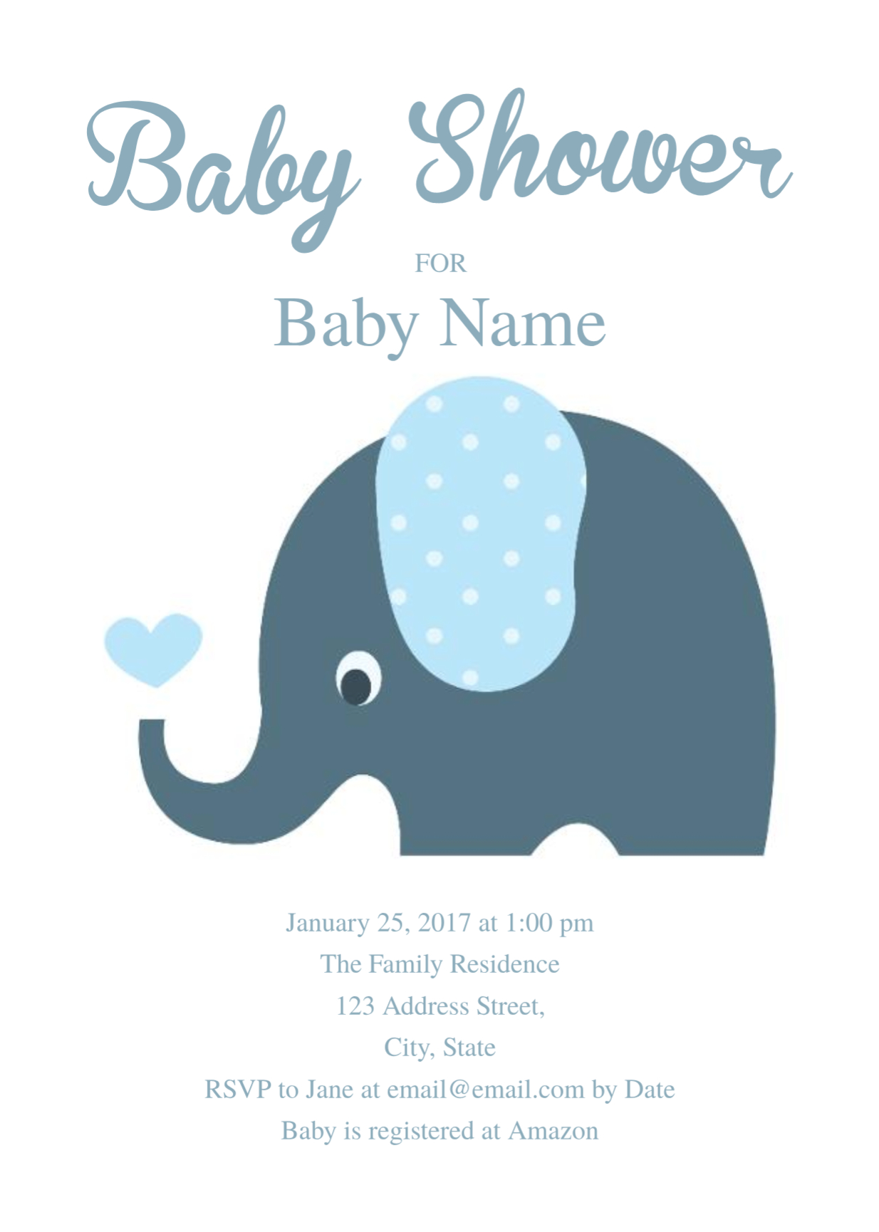 Cute Elephant Baby Shower Invitation Template   Free Invitation - Free Printable Baby Shower Invitations Templates For Boys