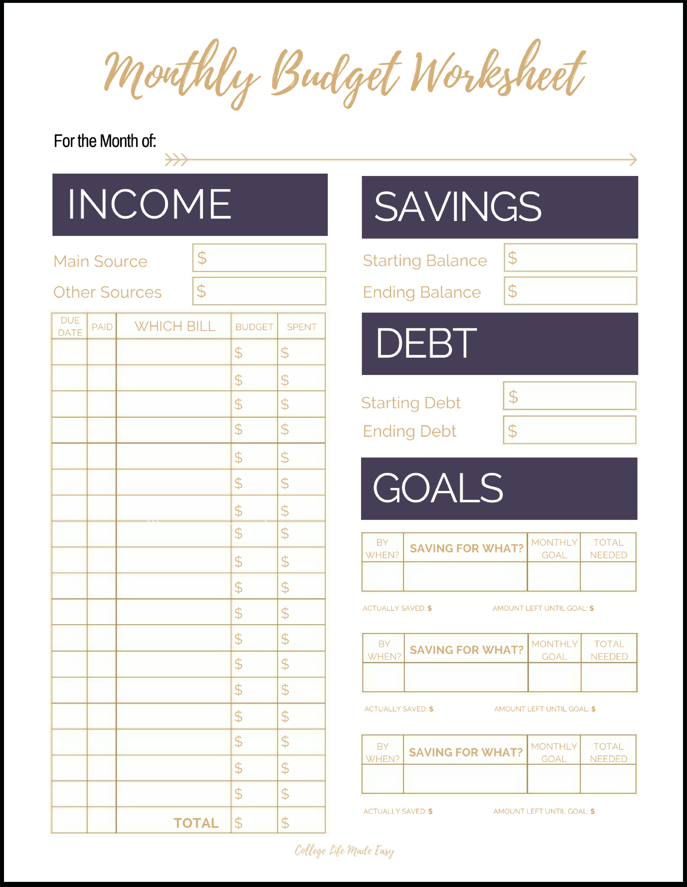 Cute Free Printable Budget Worksheet Templates For Organizing Your - Free Printable Homework Templates