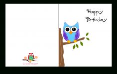 Cute Owl Sitting On A Branch Happy Birthday Card   Favorite - Free Online Funny Birthday Cards Printable