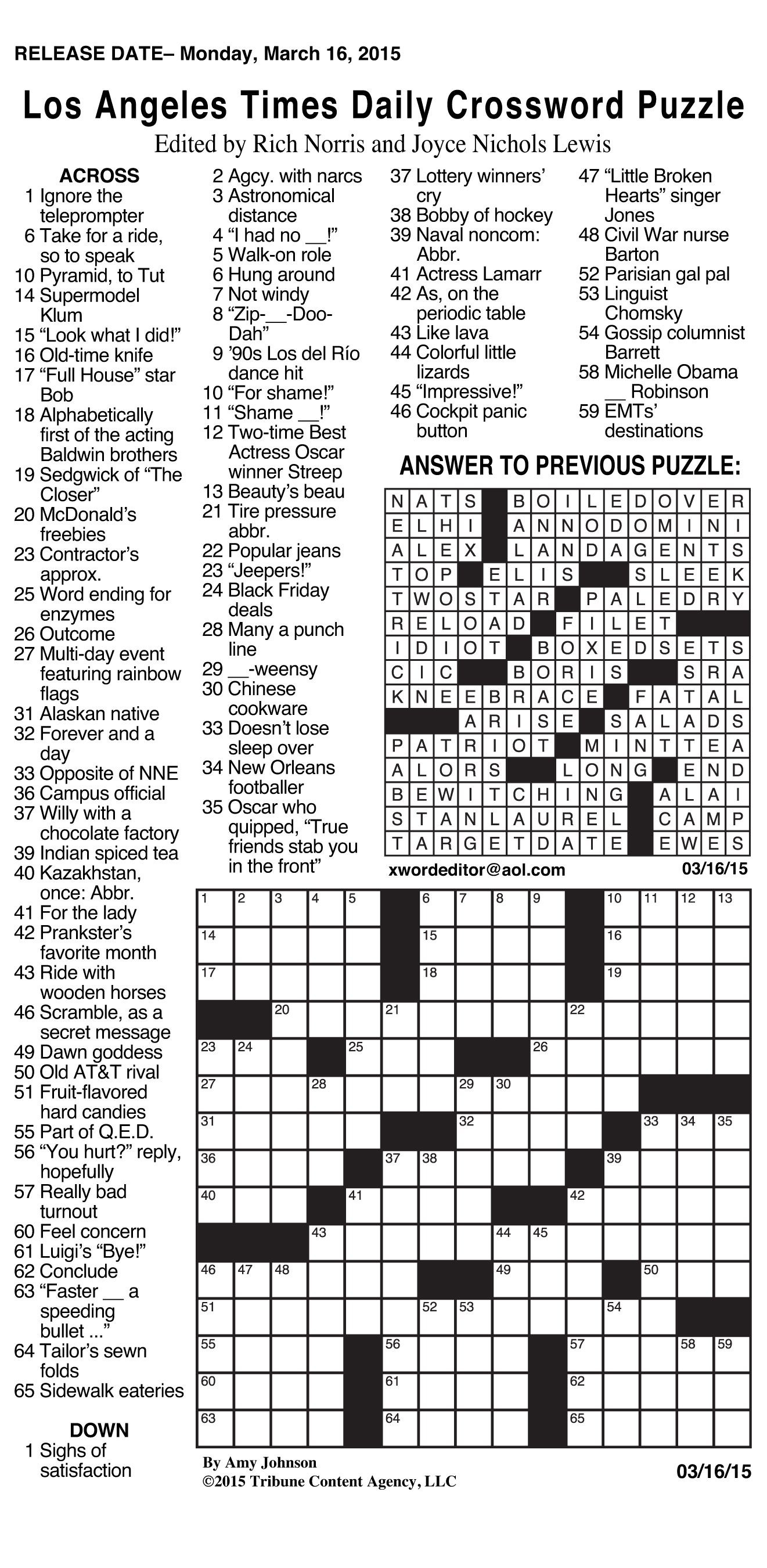 Daily Crossword Puzzle Printable – Jowo - Free Daily Printable Crosswords