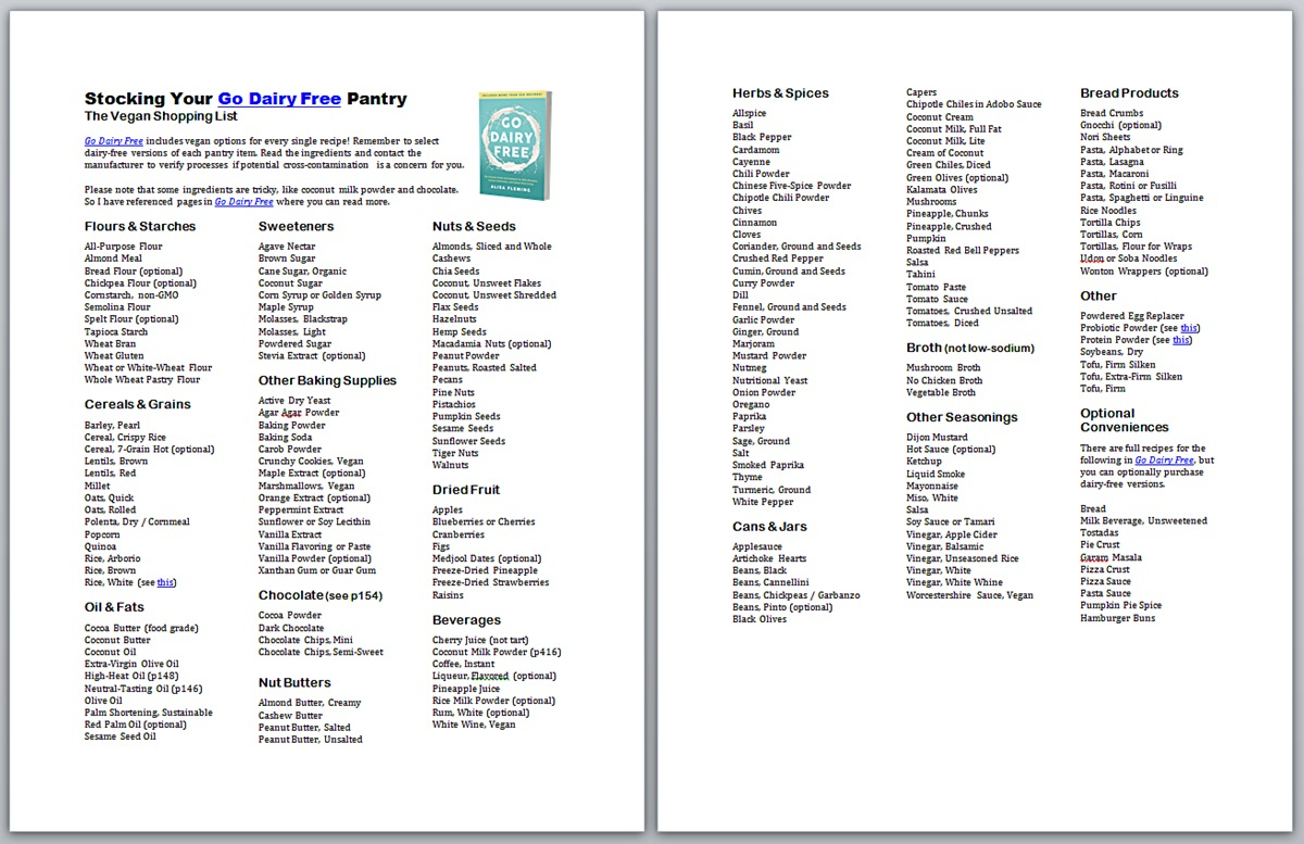 Dairy Free Pantry Stocking Printables With Shopping Lists For All - Gluten Free Food List Printable