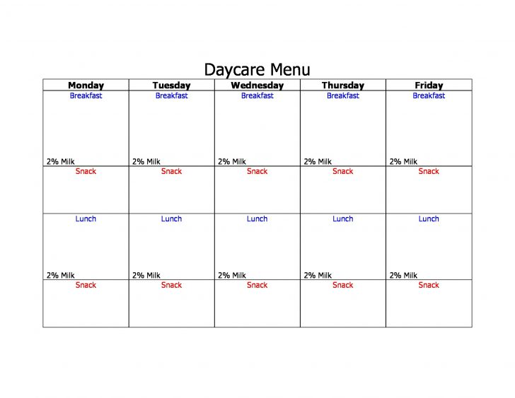 Free Printable Daycare Menus