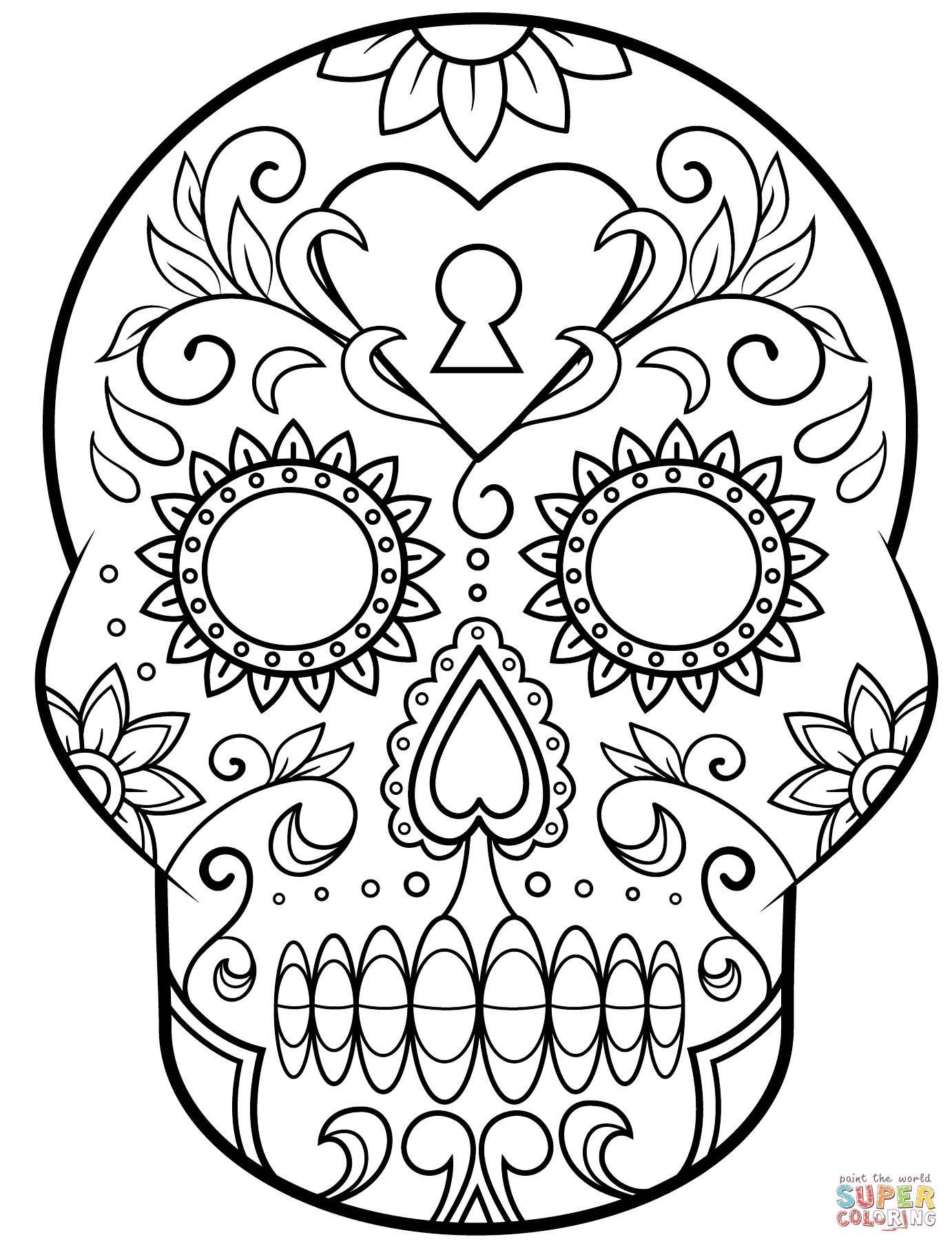 Day Of The Dead Sugar Skull Coloring Page | Free Printable Coloring - Free Printable Day Of The Dead Worksheets