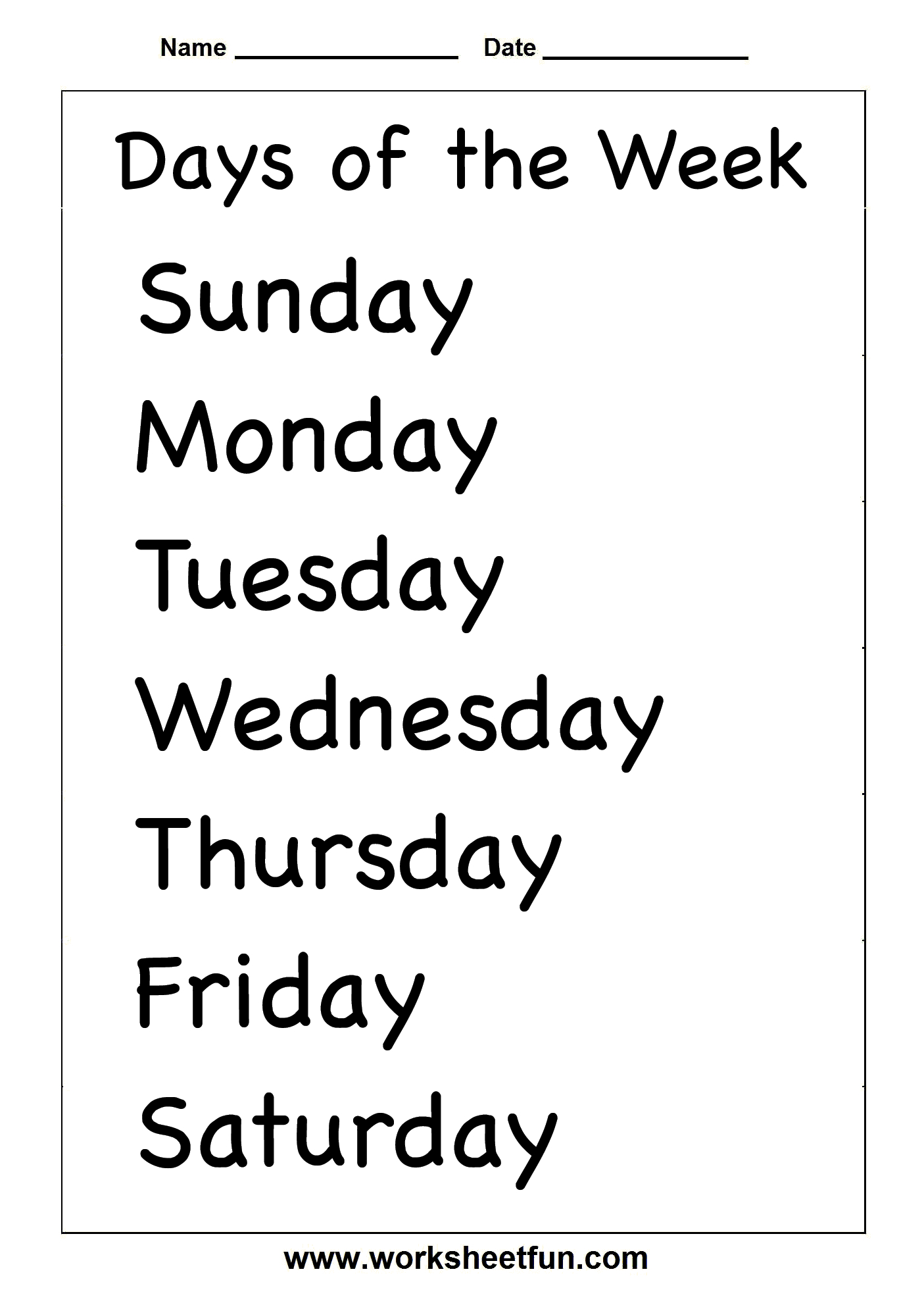 Days Of The Week – Two Worksheets / Free Printable Worksheets - Free Printable Days Of The Week