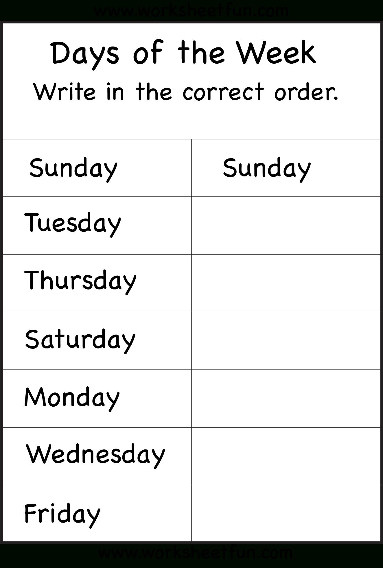 Days Of The Week Worksheet   Printable Worksheets - Free Printable Spelling Worksheets For Adults