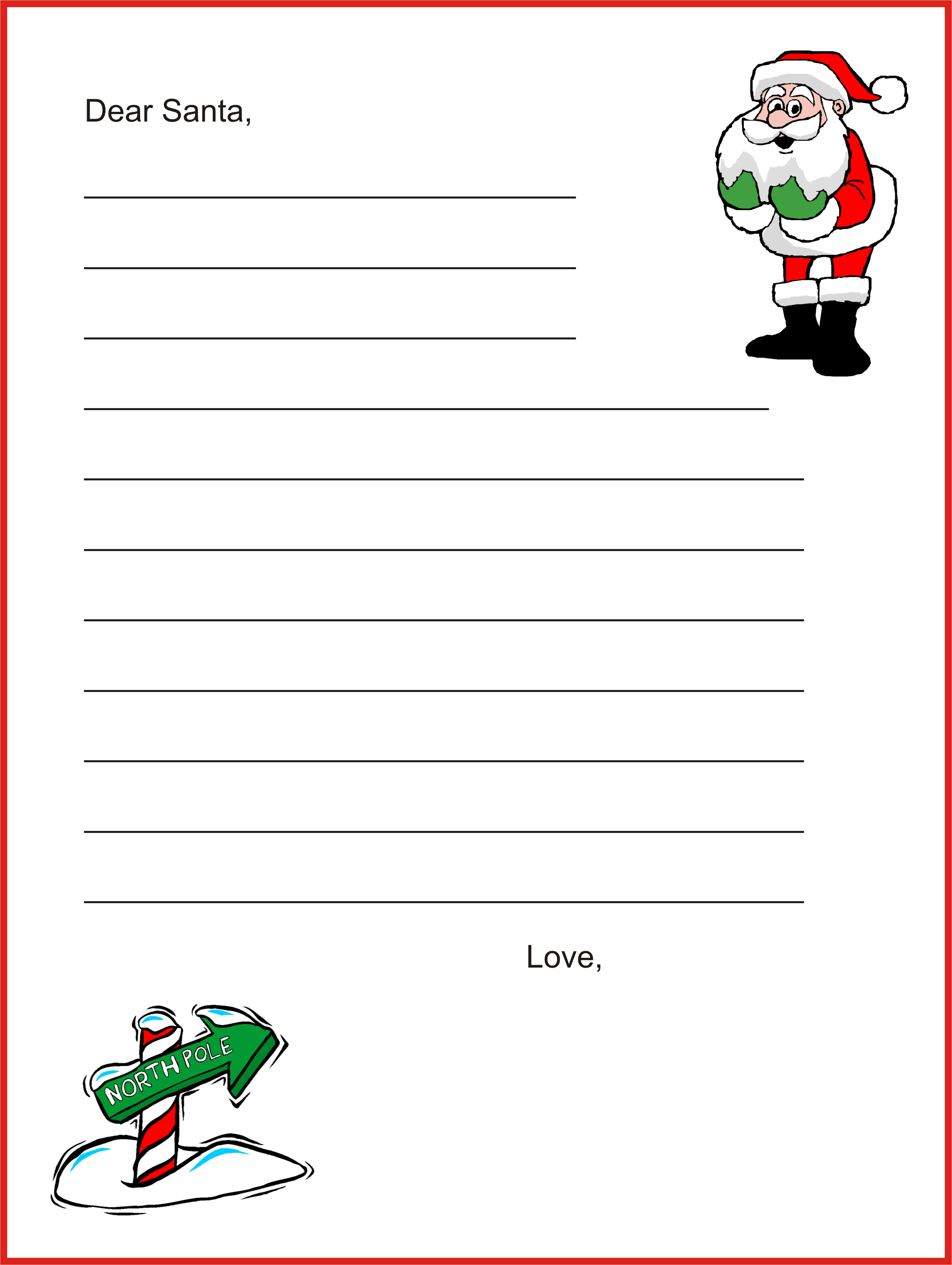 Dear Santa Letter Template - Christmas Letter Tips | - Free Printable Dear Santa Stationary