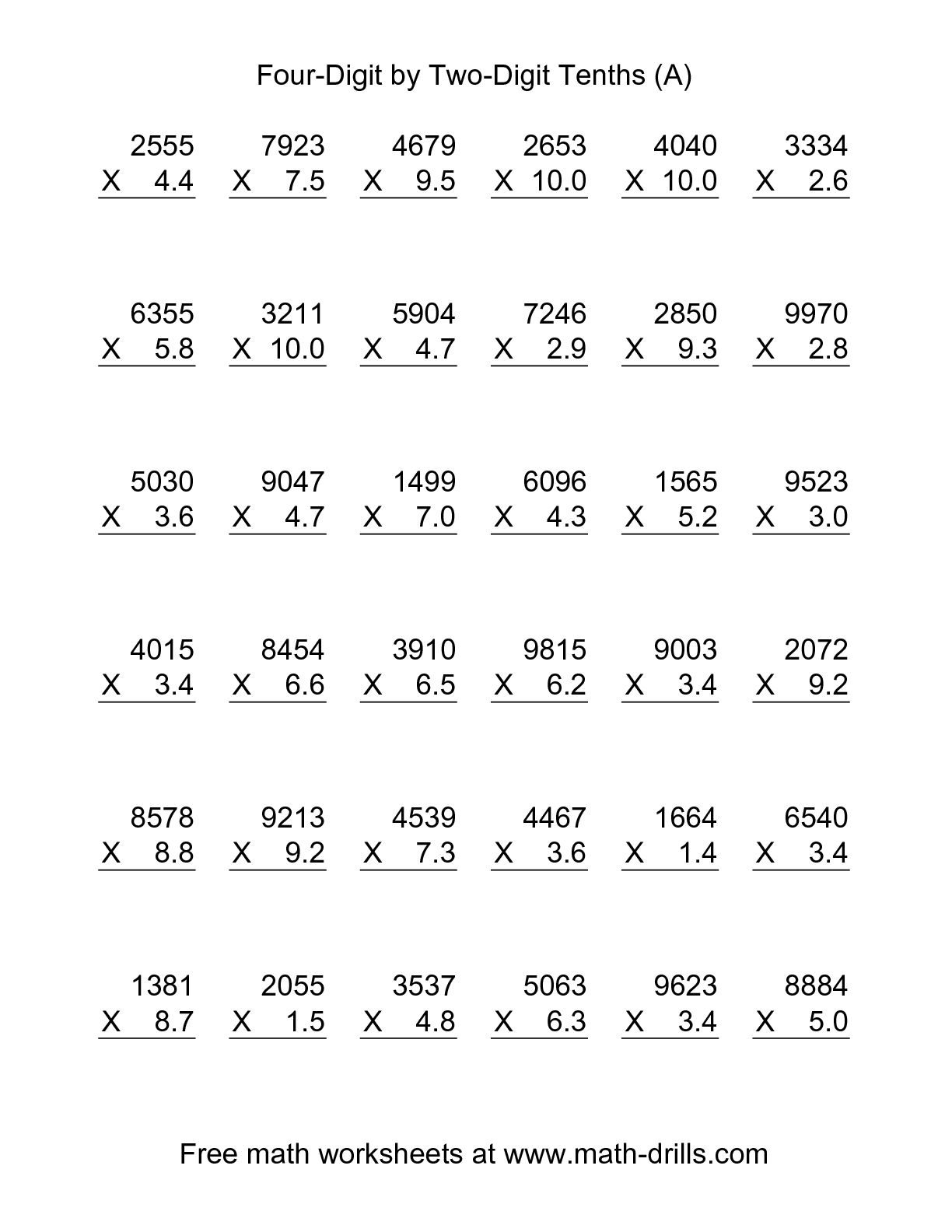 Decimal Multiplication And Division Worksheets Free Printables With - Multiplying Decimals Free Printable Worksheets
