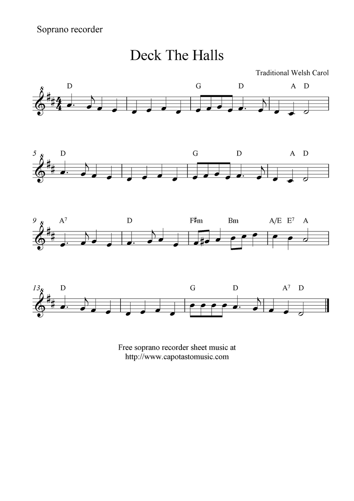 Deck The Halls -- Free Recorder Sheet Music | Music Class | Sheet - Free Printable Recorder Sheet Music For Beginners