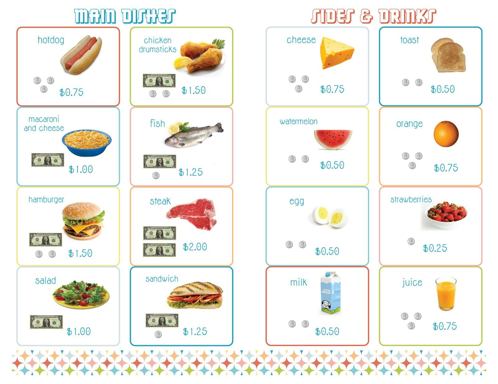 Delightful Distractions: Printable Menus For A Math Restaurant | It - Free Printable Menu Math Worksheets