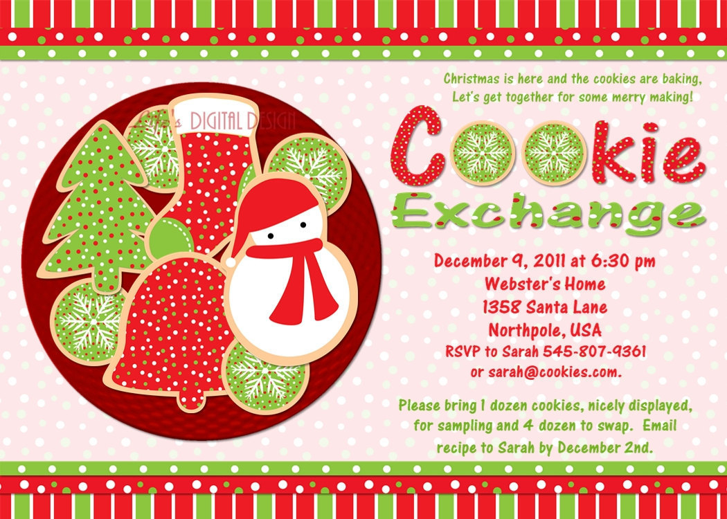 Delightful Epic Cookie Swap Party Invitations Templates Awesome - Free Christmas Cookie Exchange Printable Invitation