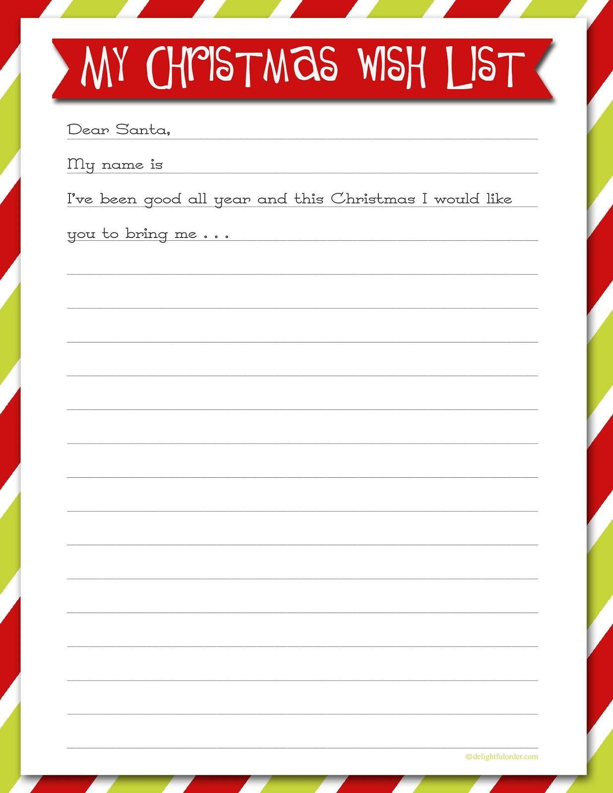 Delightful Order: Christmas Wish List - Free Printable | Delightful - Free Printable Christmas Wish List