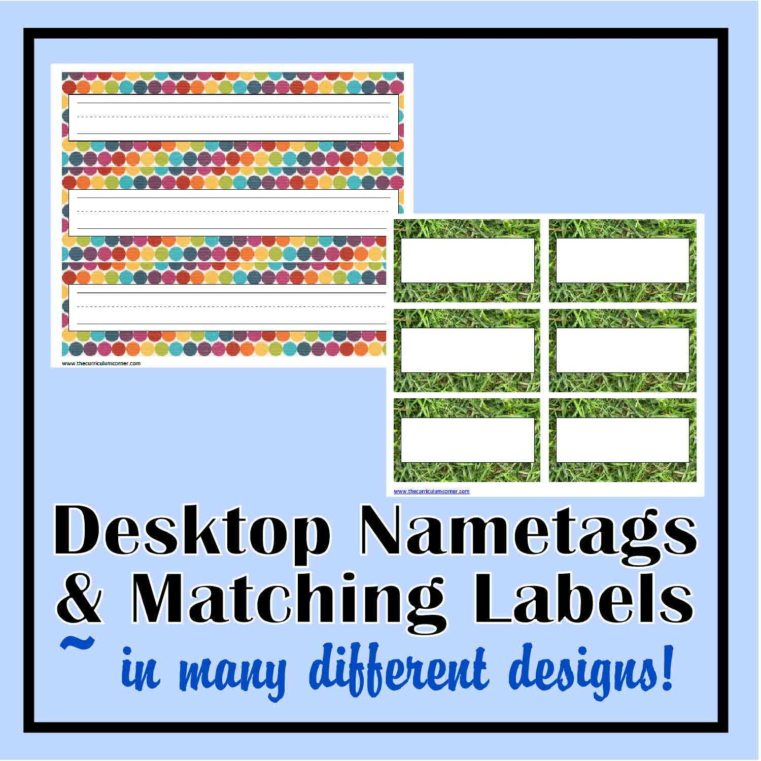 Desk Nametags & Classroom Labels - The Curriculum Corner 123 - Free Printable Name Tags For School Desks