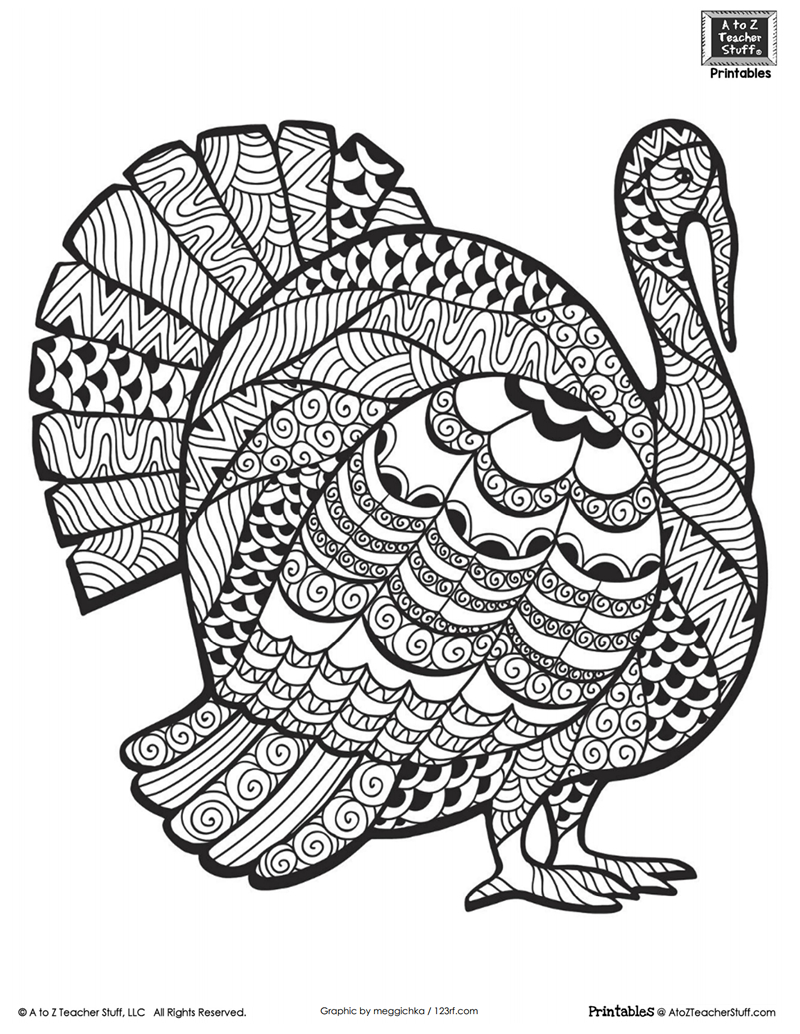 Detailed Turkey Advanced Coloring Page | A To Z Teacher Stuff - Free Printable Pictures Of Turkeys To Color