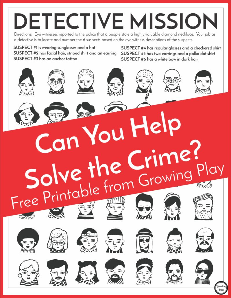 Detective Puzzle For Kids - Free Printable - Growing Play - Free Printable Detective Games