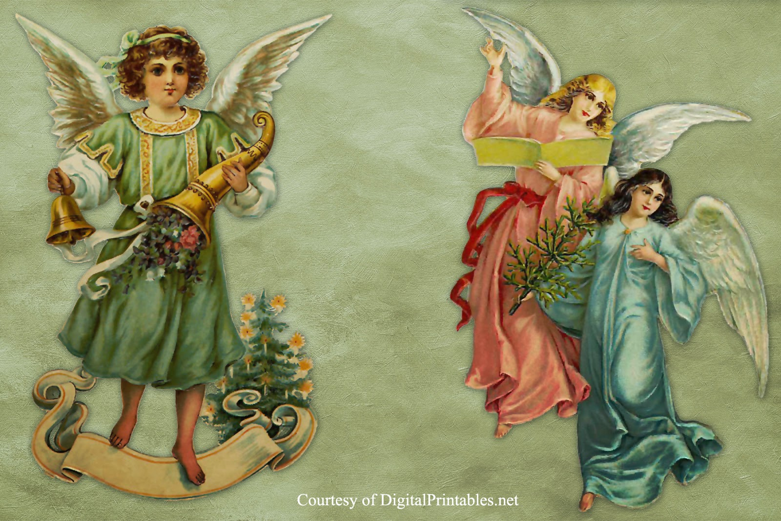 Digital Printables: Free Printable Victorian Christmas Angel Scraps - Free Printable Decoupage Images