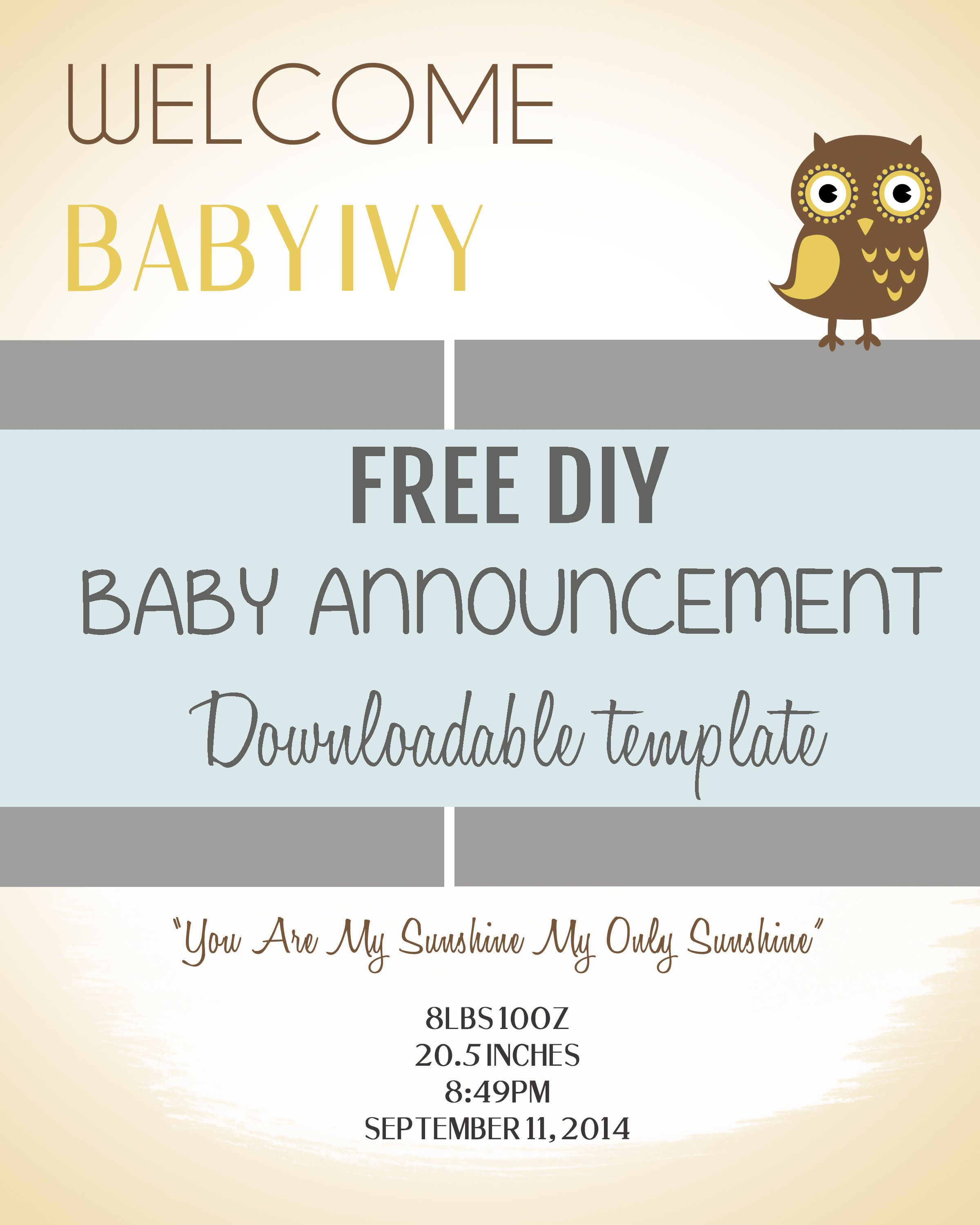 Diy Baby Announcement Template | Pee Wee | Fun Baby Announcement - Free Printable Baby Birth Announcement Cards