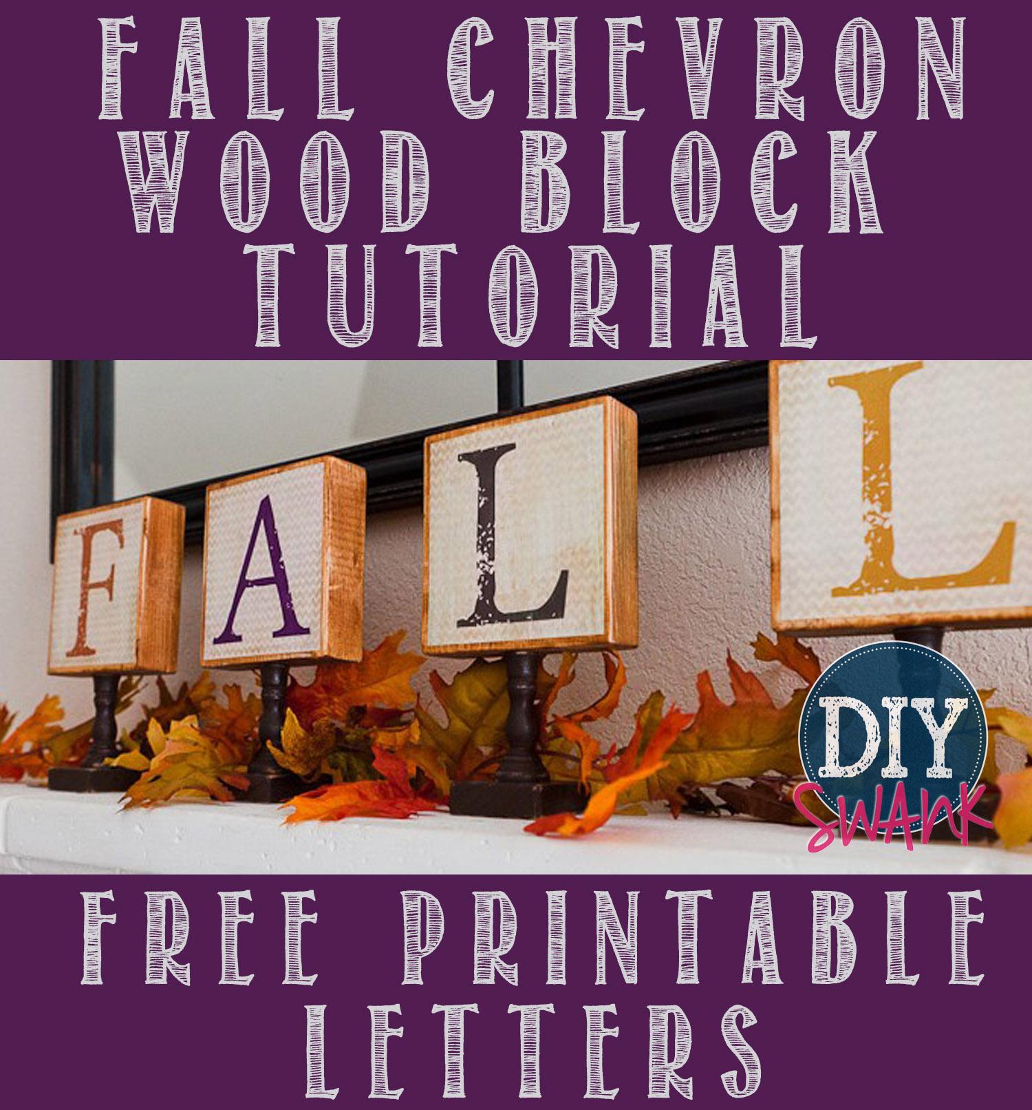 Diy Fall Chevron Wood Block Letters - Free Printable | Diy Swank - Diy Swank Free Printable Letters