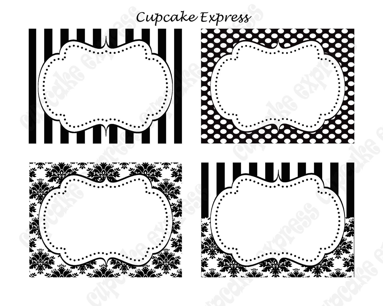 Diy Paris Black & White Damask Stripe Polka Dots Printable Party - Free Printable Damask Place Cards