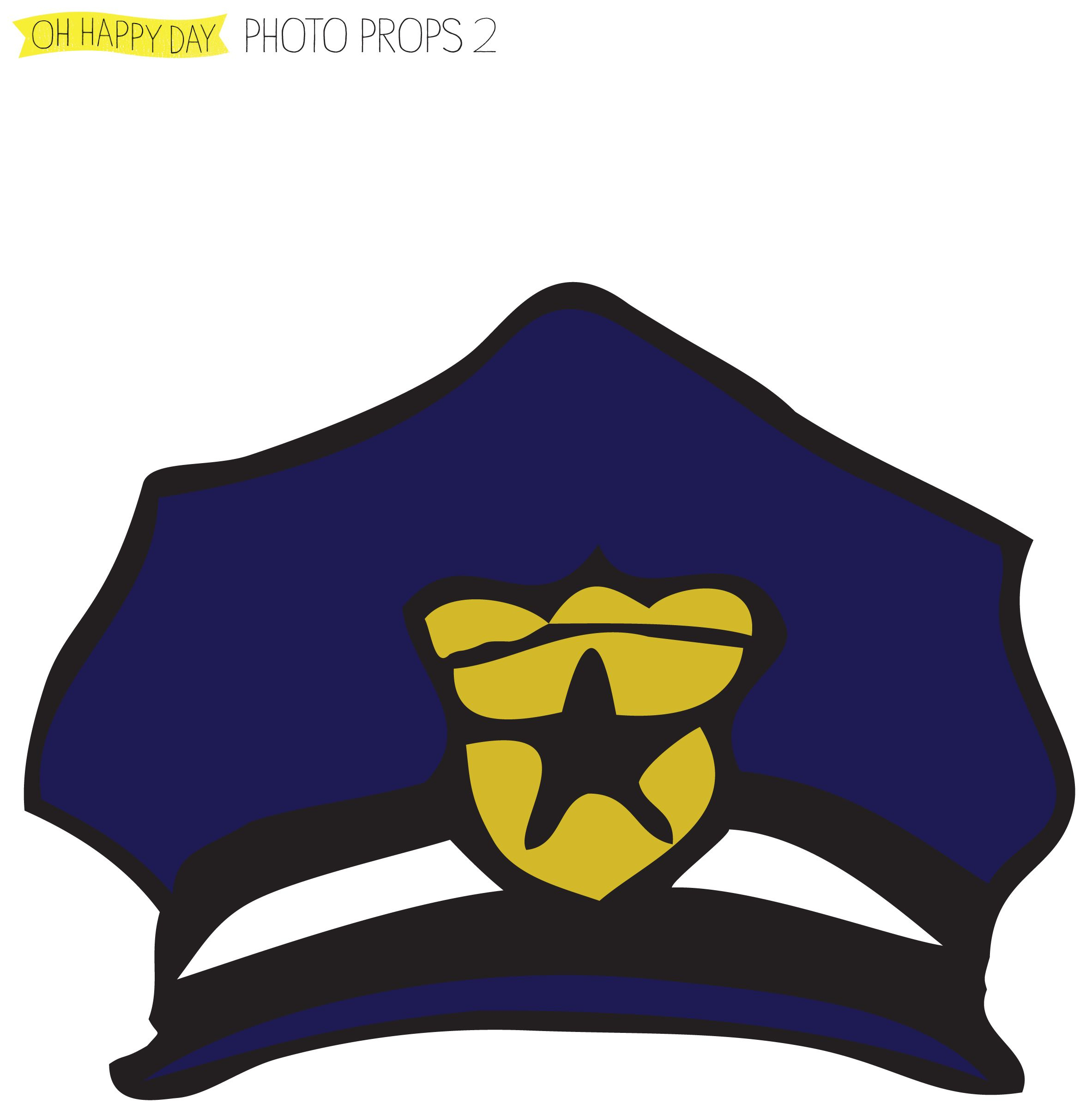 Diy Pdf Photo Booth Props Police Hat | Free Party Photo Booth Diy - Free Printable Police Hat