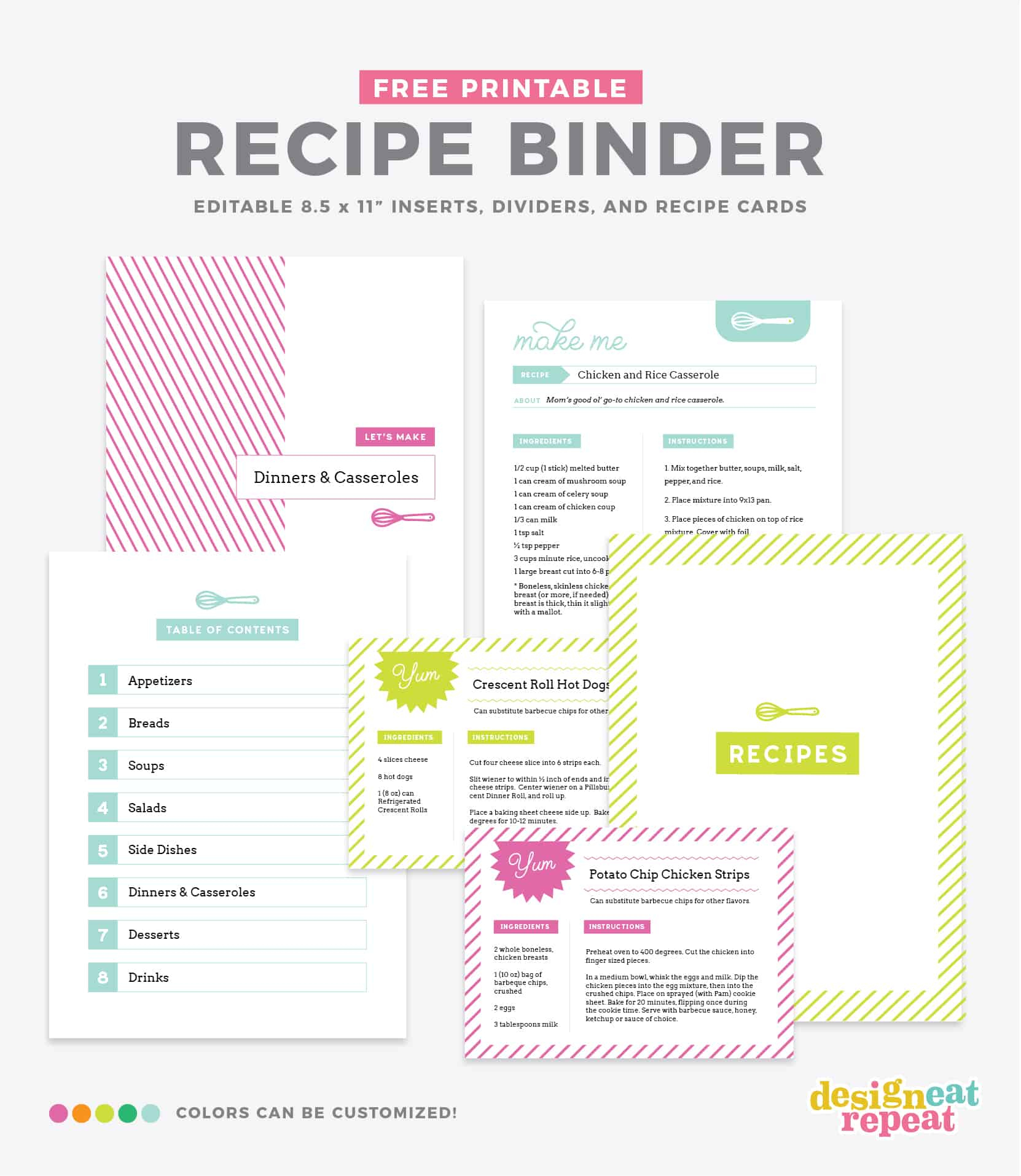 Diy Recipe Book (With Free Printable Recipe Binder Kit!) - Free Printable Recipe Binder Templates