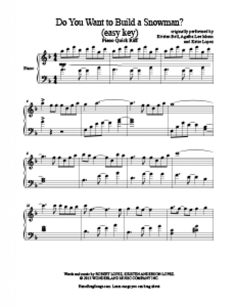 Do You Want To Build A Snowman - Frozen - Free Easy Piano Sheet - Frozen Piano Sheet Music Free Printable