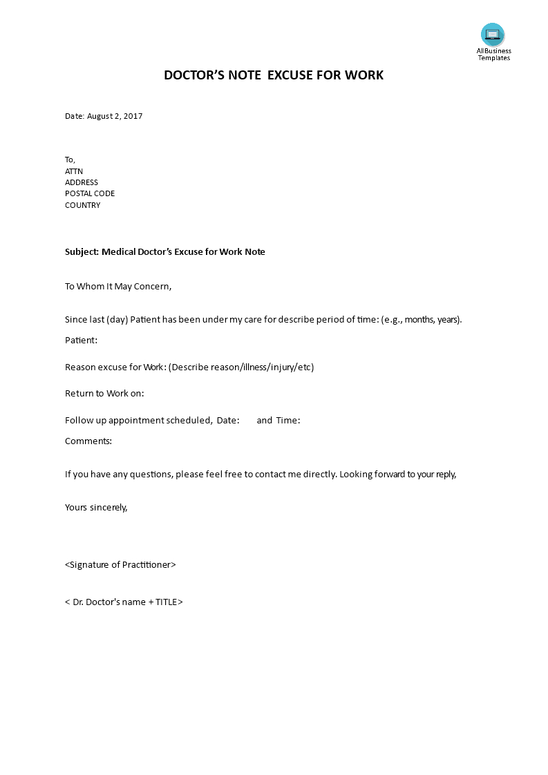 Doctor Note For Work - Do You Need A Doctor's Note? We Provide A - Free Printable Doctors Note For Work
