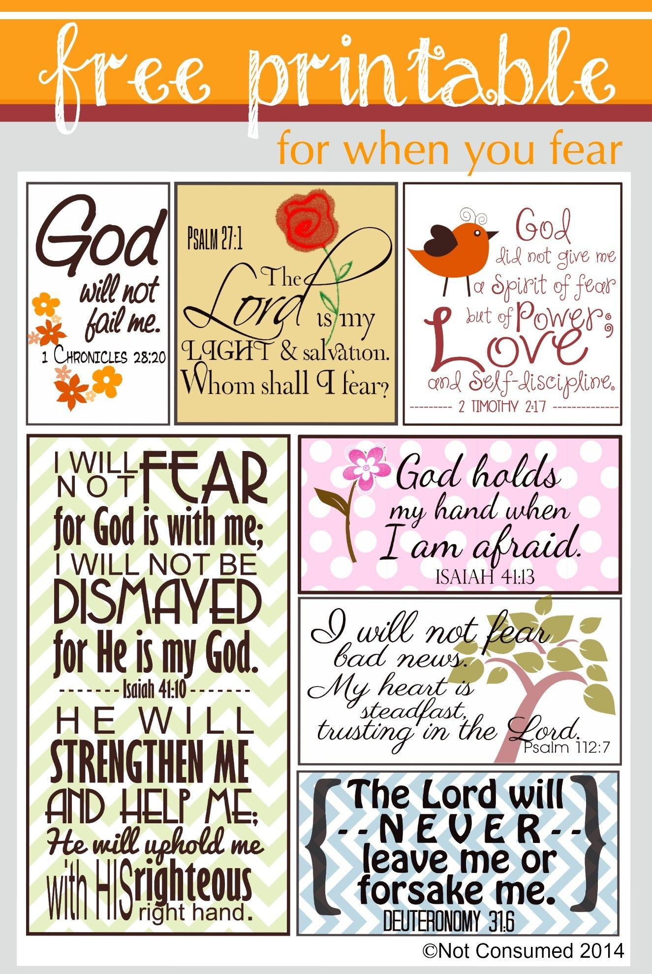 Does Fear Sometimes Settle Into Your Heart? Use God's Truth To - Free Printable Scripture Cards