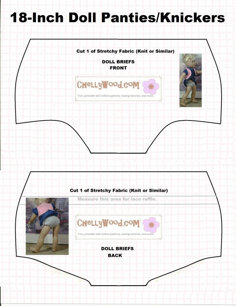 Doll Underwear Pattern (Briefs) To Fit 18 Inch Dolls Like American - 18 Inch Doll Clothes Patterns Free Printable