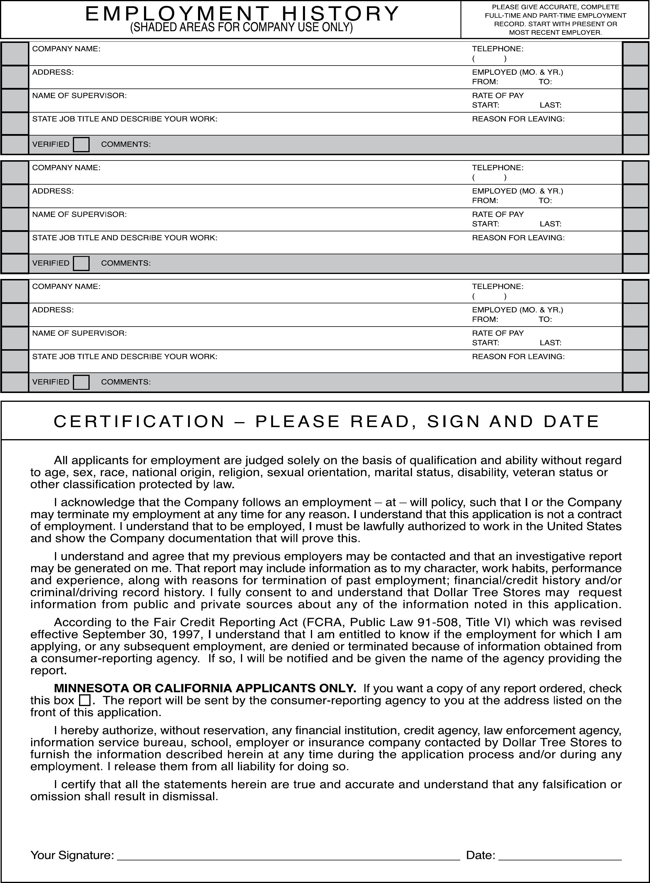 Dollar Tree Job Application Dollar Tree Job Application Form To - Free Printable Dollar Tree Application Form