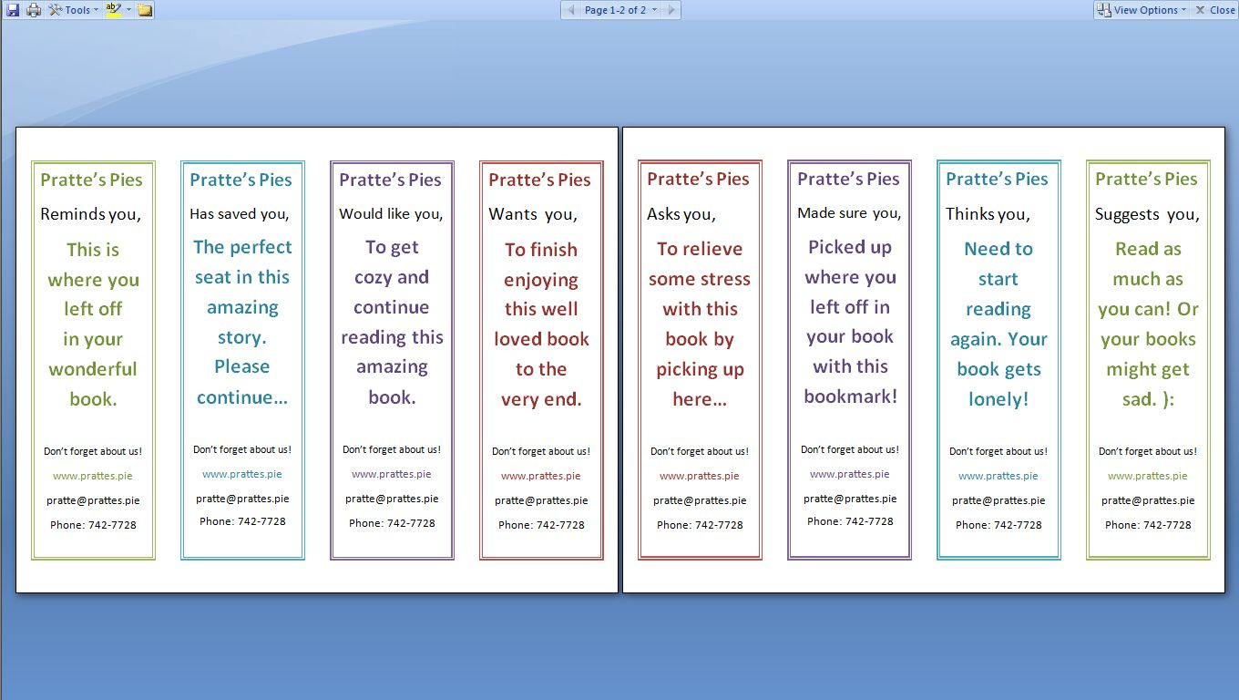 Double Sided Bookmark Template Free - Google Search | Bookmark - Free Printable Blank Bookmarks