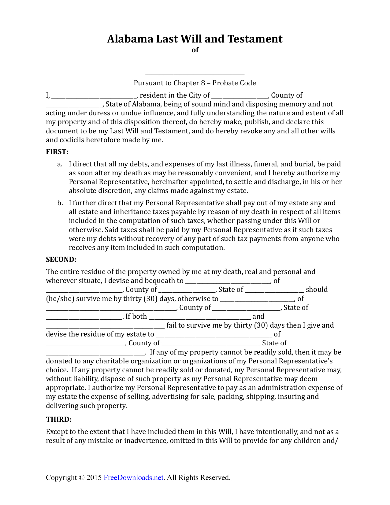 Download Alabama Last Will And Testament Form | Pdf | Rtf | Word - Free Printable Last Will And Testament Forms