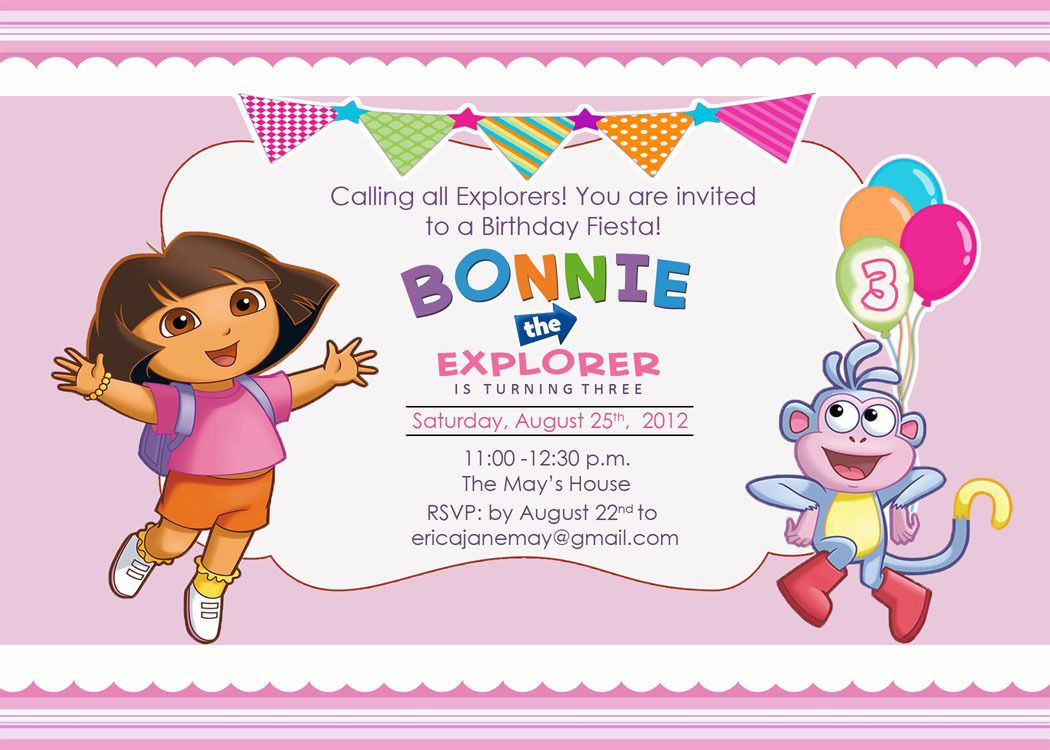 Download Free Template Dora The Explorer Birthday Party Invitations - Dora Birthday Cards Free Printable
