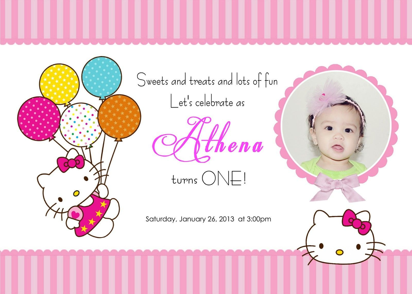 Download Free Template Hello Kitty Printable Birthday Invitations - Hello Kitty Free Printable Invitations For Birthday