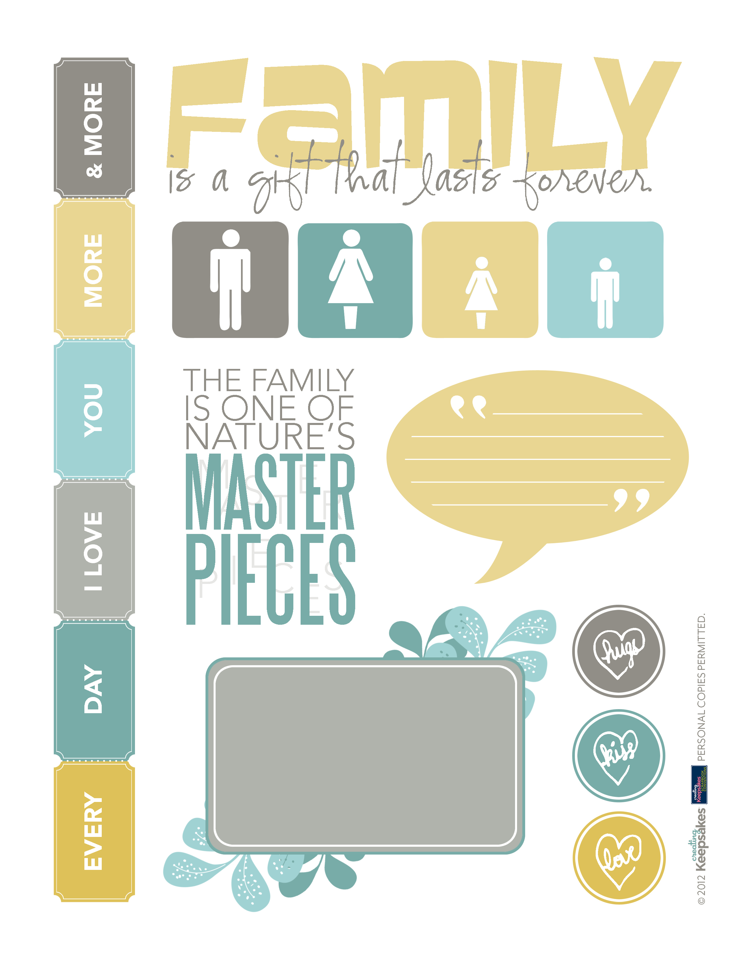 Download This Page Of Family Printables For Your Scrapbook Layouts - Free Printable Scrapbook Page Designs