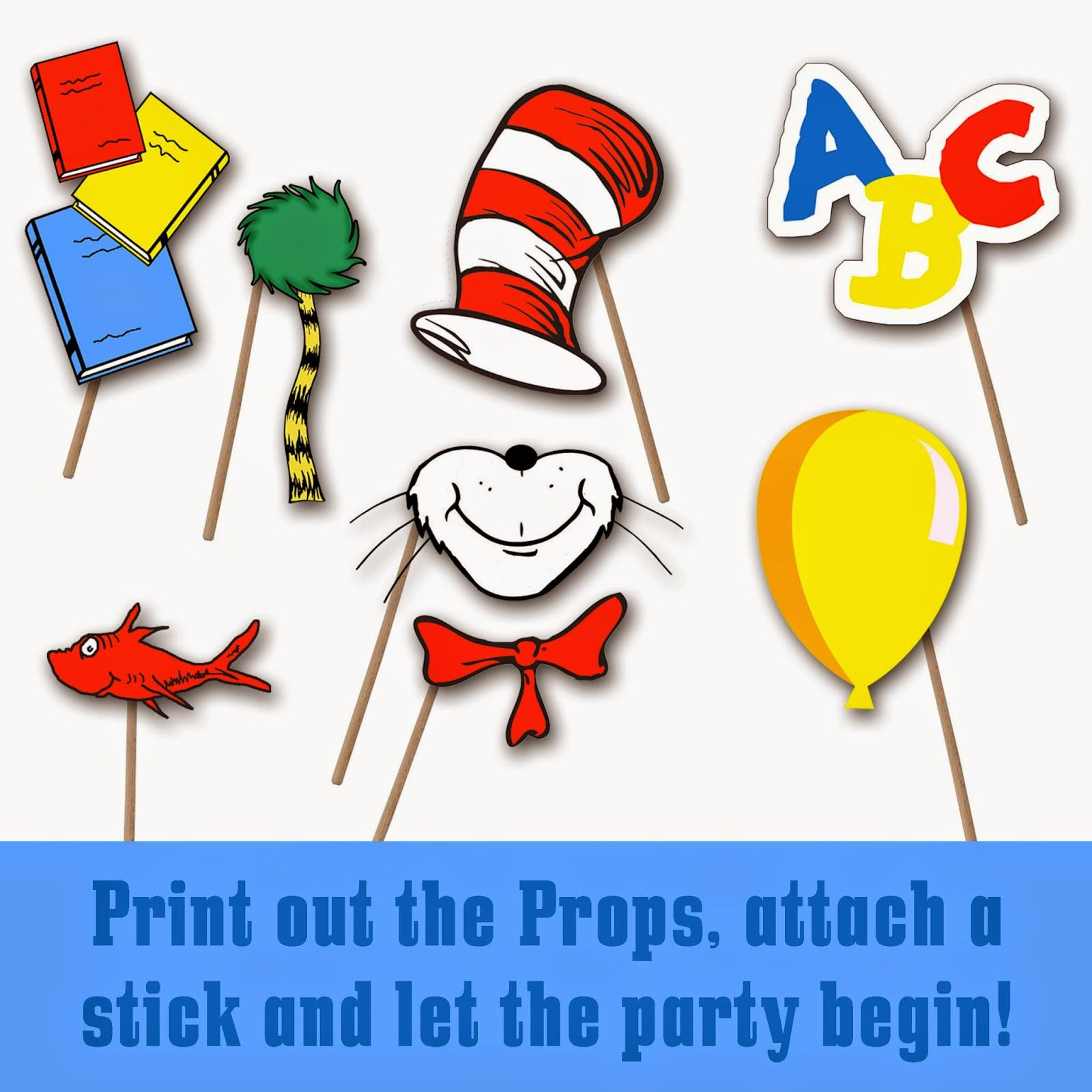 Dr. Seuss Photo Booth Printable Props | School-Dr. Seuss | Dr Seuss - Free Printable Dr Seuss Photo Props
