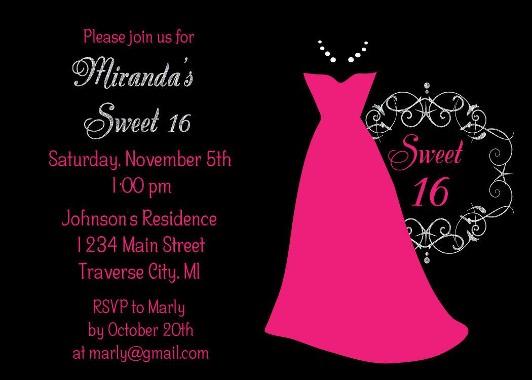 Dress Sweet 16 Birthday Party Invitations - Kids | Invitations - Free Printable Sweet 16 Birthday Party Invitations