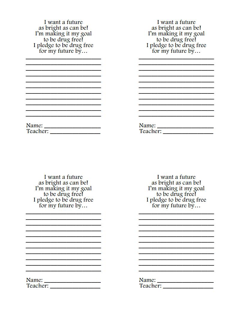 Drug Free Pledge.pdf | Red Ribbon Week - Free Printable Drug Free Pledge Cards
