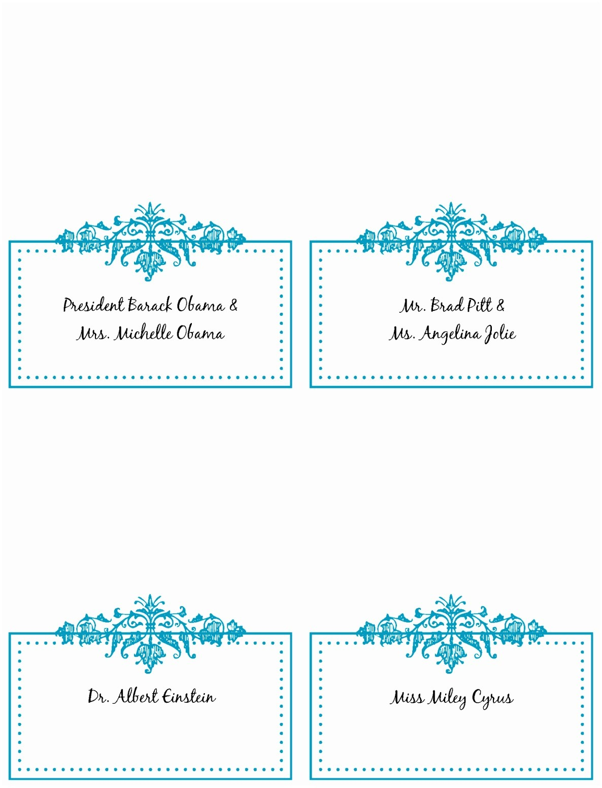 √ 9 Table Place Cards Template Word Rawoz - Free Printable Place Cards Template