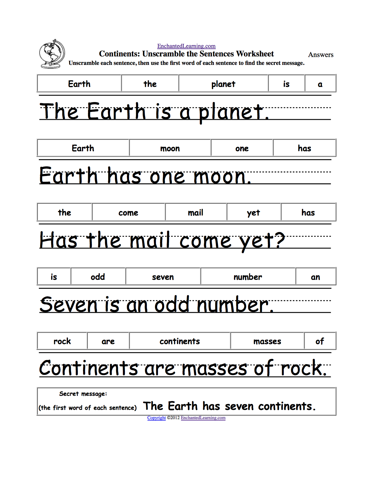 Earth Day Crafts Enchantedlearning. | Grade 1 - Free Printable Scrambled Sentences Worksheets