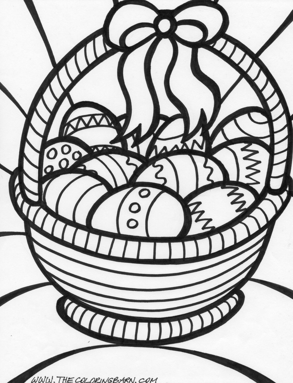 Easter Basket Coloring Page Coloring Page & Book For Kids. - Free Printable Coloring Pages Easter Basket