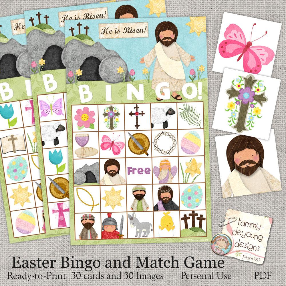 Easter Bible Bingo Religious Easter Printable Sunday School | Etsy - Free Printable Religious Easter Bingo Cards
